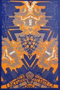Purple and orange poster for the band Phish