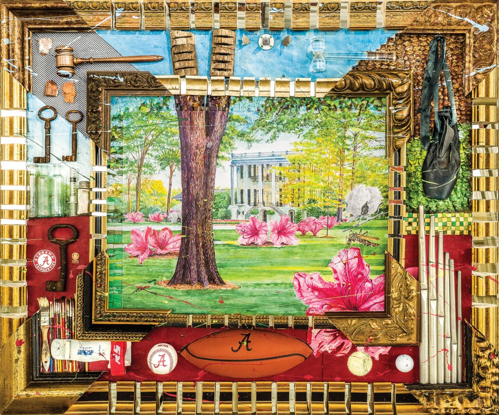 mixed-media artwork depicting the UA President's Mansion