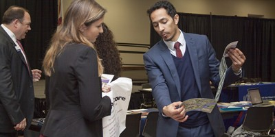 Students can meet law school admissions representatives at the annual law-school fair.