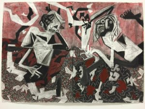 """""""Just a Dance,"""" by Graham Harrison. Charcoal and ink on paper. 58"""" by 40."""""""