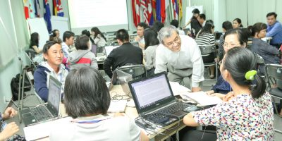 Working with Vietnamese university teachers during a workshop in Ho Chi Minh City