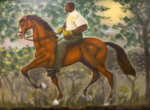 A painting of a man riding a horse in a forest