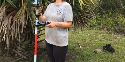 Cayla Colclasure uses new equipment on Creighton Island.