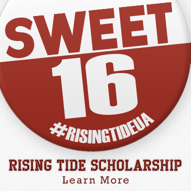 Rising Tide campaign button representing the Sweet 16 button that students services is selling to raise money for scholarships.