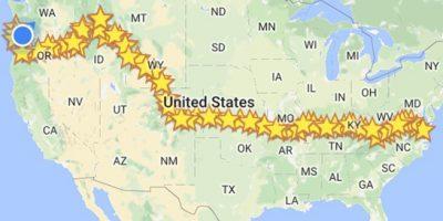Map tracking Gyurgyik's trip from Virginia to Oregon.